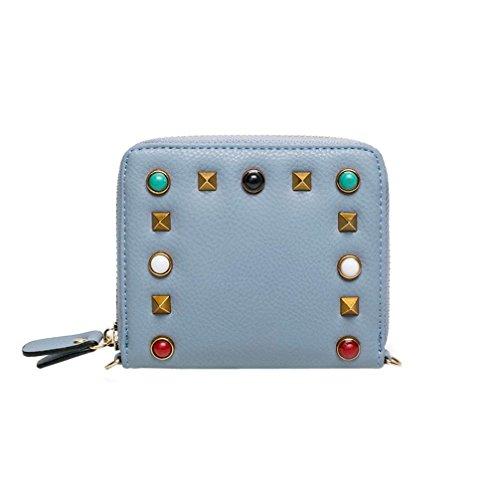 Longra la moda delle donne di colore gemstone rivetti, borsa, breve lampo, diagonale in borsa, portafoglio, borsa piccola Blu