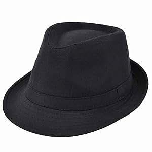 Fostly Retro Jazz Hat Trilby Hat Fashion Autumn Winter Warm Cap For Men Black