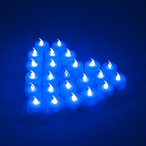 MAXAH® LED velas pequeñas 24er Set sin llama velas eléctricas con baterías, velas de iluminación estado de ánimo como para vacaciones Navidad / Año Nuevo / cumpleaños / tarjeta del día / de la boda, etc. (azul)