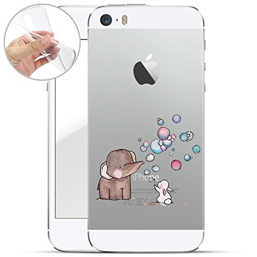 finoo | iPhone SE Weiche Flexible Silikon-Handy-Hülle | Transparente TPU Cover Schale mit Motiv | Tasche Case Etui mit Ultra Slim Rundum-Schutz | Elefant Hase Seifenblasen