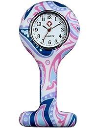 Lancardo Orologio dell'Infermiera con Cinturino in Silicone per Medico Quadrante Rotondi Numeri Arabi Multicolori