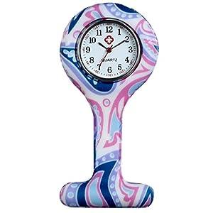 LANCARDO Uhren,Krankenschwester Armbanduhr FOB-Uhr Damen Taschenuhr Analog Quarzuhr aus Silikon, rosa Mehrfarbig (lila)