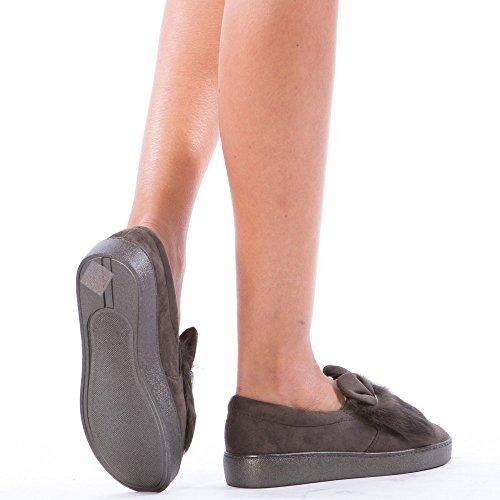 Ideal Shoes - Slip-on à fourrure Monia Gris