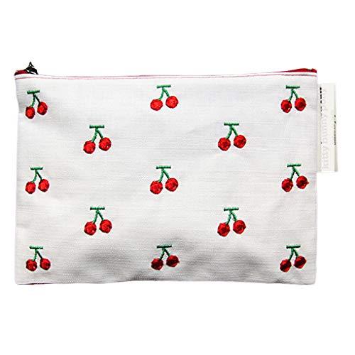 Royalr Kirsche gesticktes Cosmetic Bag Frauen Reise-Make-up Kulturtasche Zipper Canvas Makeup Handtaschen-Organisator - Canvas Gestickte Handtasche