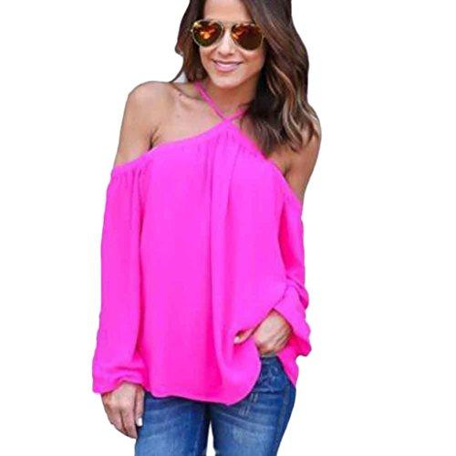 Bovake Frauen-Art und Weise unregelmäßiges trägerloses Chiffon- Oberseiten-T-Shirt (L, Hot (Flapper Pink Kinder Kostüme)