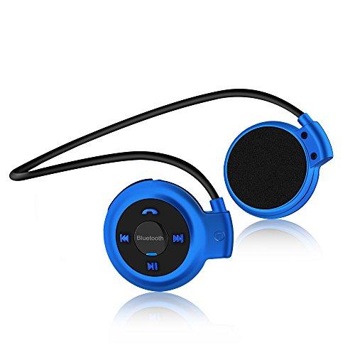 Vemont Auriculares Bluetooth Deporte V4.1 Auriculares Bluetooth inalámbrico Rádio FM con micrófono para correr, entrenamiento, fitness,soporta tarjeta TF para iPhone, Android, MP3 Etc.(Azul)