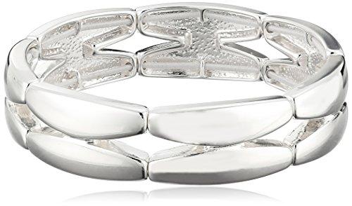 napier-classics-silver-tone-sectional-stretch-bracelet