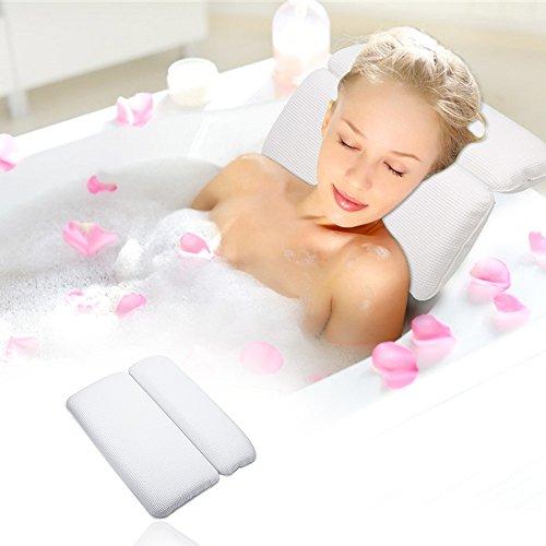 [Badewannenkissen] Aimego Wasserdichtes Bad Kissen/Spa Kissen mit 7 Saugnäpfe Rutschfest, Unterstützung für Kopf, Hals und Rücken, Weiß