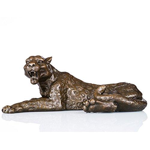 Toperkin Bronze Statuen Tier Skulpturen Leopard Hund-Made Garten Figurines TPAL-064