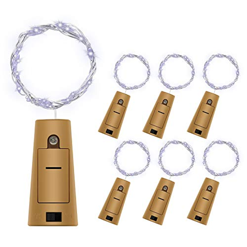 BizoeRade Flaschenlicht,6 Stück 39inch 20 LED Weiß Kupferdraht Lichter String Starry LED Lichter für Flasche DIY, Party, Dekor, Weihnachten, Halloween, Hochzeit oder Stimmung ()