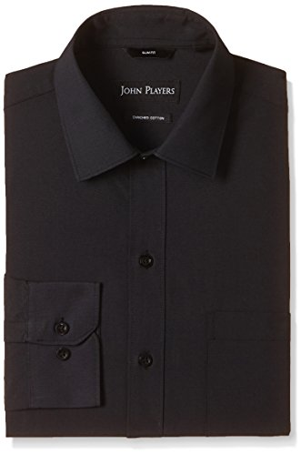 John Players Men's Formal Shirt (8902986943499_JFMWSHA160006002_39_Jet Black)