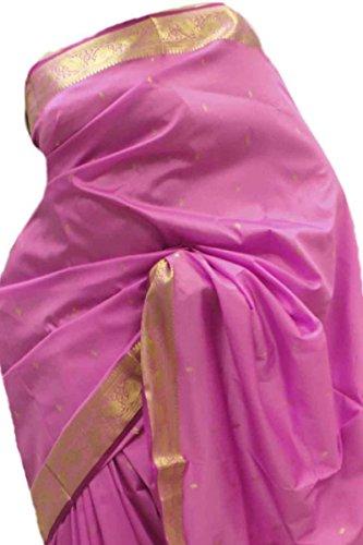 ASB3627 rosa e viola Arte della Seta Saree Indian Art Silk Saree Sari Curtain Drape Fabric Rosa