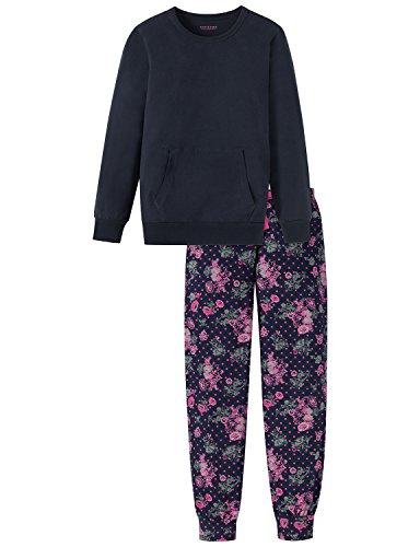 Schiesser Mädchen Zweiteiliger Schlafanzug Anzug Lang Blau (Nachtblau 804), 140 (Herstellergröße: XS) (Cooler Pyjama)