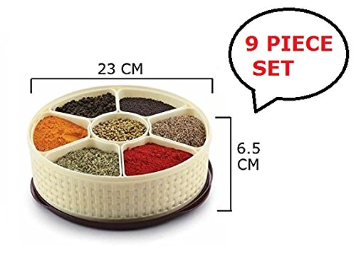 Plastic Spice Box | Dry Fruits Box | Spice Container | Kitchen Dabba | Masala Box - 23 x 23 X 6.5 CM - 9 PIECES SET  available at amazon for Rs.399