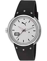 Puma Motorsport Hero - Small 3HD Unisex Quartz Watch with Silver Dial Analogue Display and Black Silicone Strap PU103042001