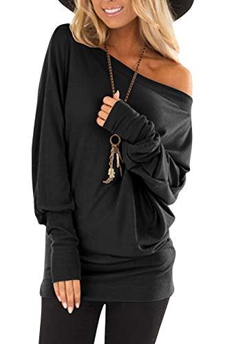 flying rabbit Damen Langarmshirt Damen Shirt Damen Langarm top One Shoulder einfarbig sexy Casual Basic T-Shirt Tops Blouse (Black 01, Large)