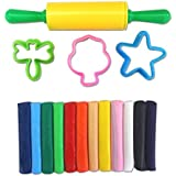 KABEER ART® Clay Modeling Set 12 Pcs Of Colorful Non-Hardening Clay Dough With 3 Molds And 1 Rolling Pin