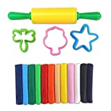 #4: KABEER ART® Clay Modeling Set 12 Pcs of Colorful Non-Hardening Clay Dough with 3 Molds and 1 Rolling Pin