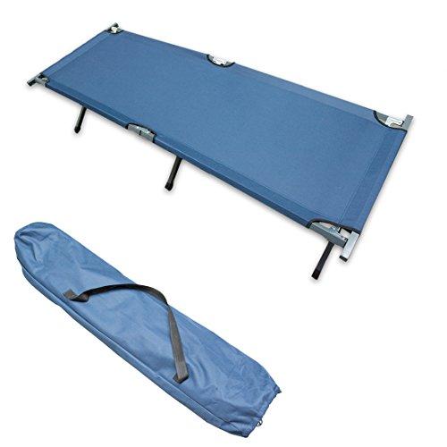 Big Dean Feldbett Klappbett Campingliege XL 190 cm klappbar mit Tragetasche blau - TÜV SÜD geprüft belastbar bis 150 kg