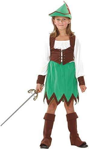 Mädchen 5 Stück Deluxe Robin Hood Bogenschütze Welttag Des Buches-tage-woche Carnival Halloween Kostüm Kleid Outfit 4-12 jahre - 4-6 years