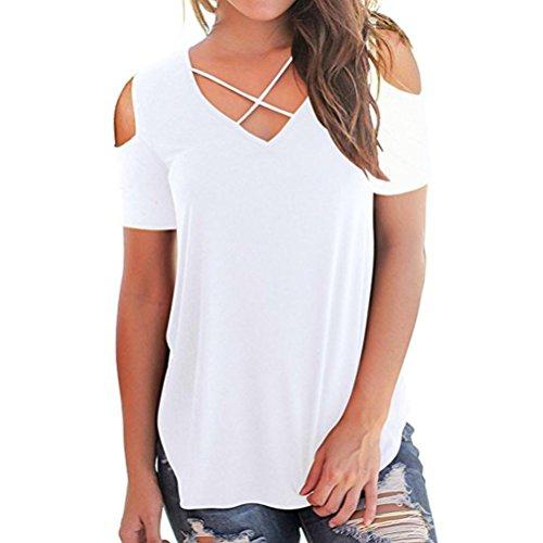 ESAILQ Damen 2018 Neue Damen Rundhals Falten T-Shirt Beliebt Ärmellos Stretch Tunika Top(M,Weiß)