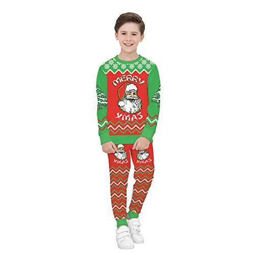 ZYX Weihnachts-Kinderbekleidung Lange Ärmel Frohe Weihnachten Geeignet Für 8-15 Jahre Unisex Hochwertig Hooded Santa Claus 3D-Druckmuster, Ideales Geschenk T-Shirt + Hosen,XS