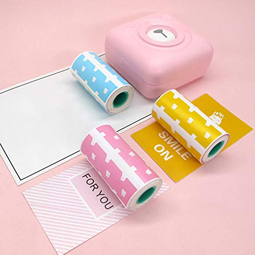 Druckaufkleber Papier Fotopapier für Mini Pocket Foto Drucker Rechnungen Quittungen Papiere 3 Rolle Niedlicher Bär Selbstklebende Aufkleber Thermodruckpapier für Peripage