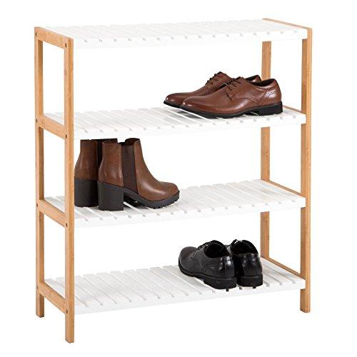IDIMEX Schuhregal Abilene, Schuhablage offen mit 4 Böden Schuhständer Schuhschrank aus Bambus, Natur/weiß lackiert