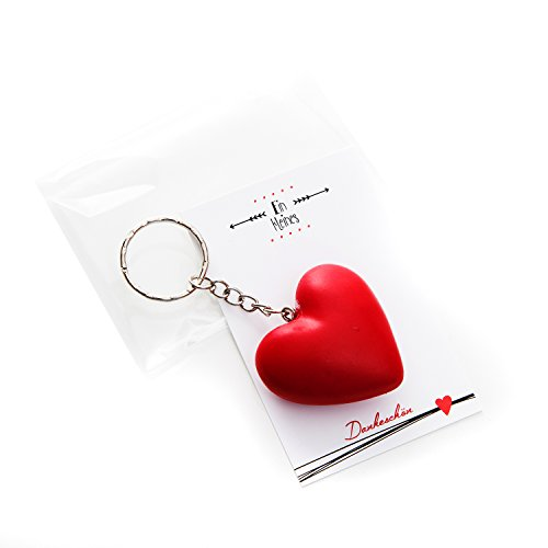 Schöne 5 Stück (5 Stück EIN KLEINES DANKE-SCHÖN - verpackte HERZ- Schlüsselanhänger als Gast-Geschenk, Mitgebsel für Kunden oder Gäste - fix und fertig verpackt, schwarz-weiß Weihnachten Hochzeit Kommunion)