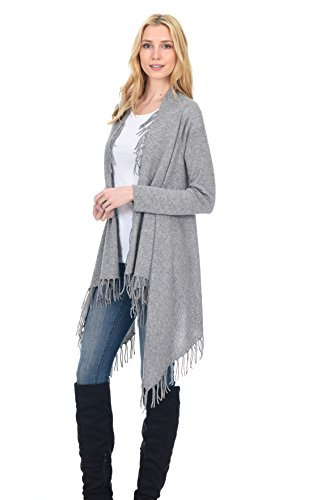 State Fusio Donna lana cachemire in lana cashmere casuale maglia fantasia frange scialle Cardigan Premium Qualità premium Meteo Grigio