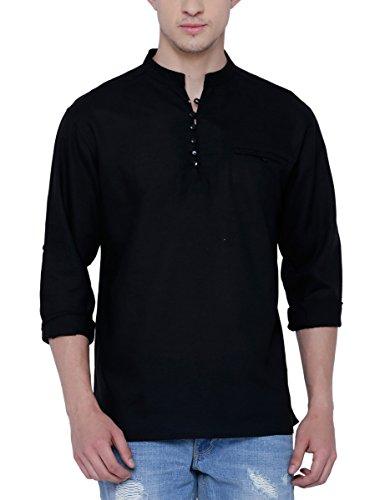 SVANIK Men's Mid Thigh Rayon Kurta (SVBK1824_Large_Black)
