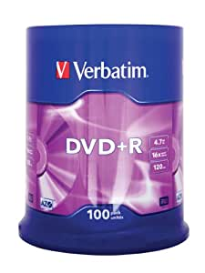 Verbatim 43551 4.7GB 16x DVD+R Matt Silver - 100 Pack Spindle
