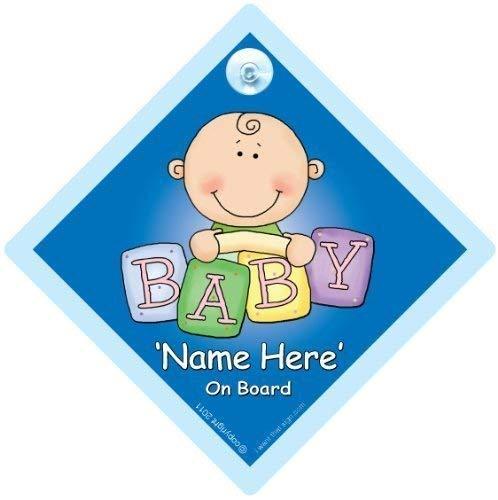 Personalisiert Baby On Board Zeichen,Blau Ziegel,Benutzerdefiniertes an Bord Schild,We'Ll Füge Jedes Name um zu Erstellen Sie Ihr Eigenes A,A Auto Custom Stoßstange Aufkleber Baby,Baby