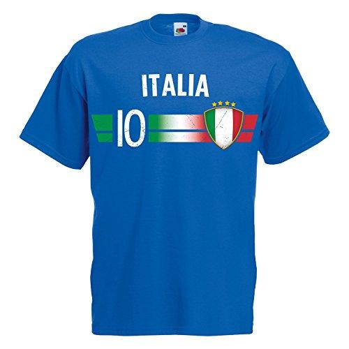 Fußball WM T-Shirt Fan Artikel Nummer 10 - Weltmeisterschaft 2018 - Länder Trikot Jersey Herren Damen Kinder Italien Italy XXL