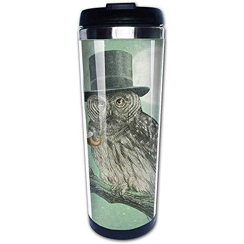 JULOE Night Smoke Cool Owl mit schwarzem Hut Kaffeetassen Edelstahl Wasserflasche Tasse Reisebecher Kaffeebecher