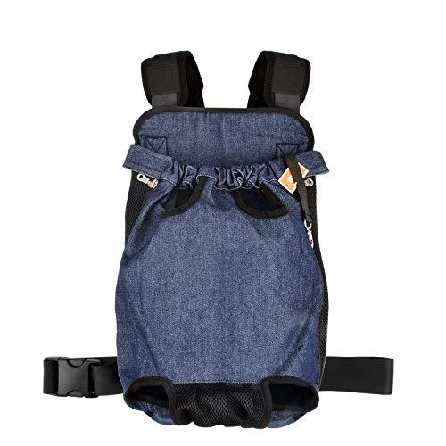 NICREW Rucksack für Haustier, Haustier Tragetasche Verstellbar, Haustiertasche Out Hunde Rucksäcke Pet Front Dog Carrier Backpack für Reisen/Wandern/Camping - Blau - Aktualisierte Version XXL -