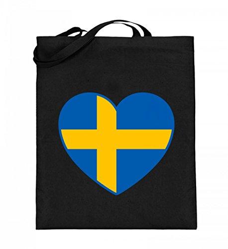 Hochwertiger Jutebeutel (mit langen Henkeln) - Jutebeutel Schweden Schwarz