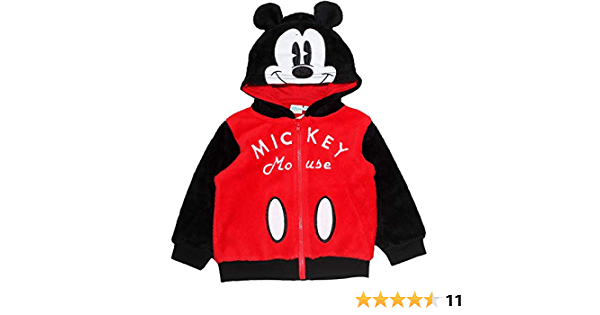 Disney Mickey oder Minnie Maus Baby Jungen M/ädchen Fleece-Kapuzenpullover mit Ohren und gro/ßem Charaktergesicht 3 Monate 24 Monate