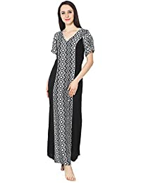 b75bac1f80 Patrorna Cotton Silk Blend Women s Princess Line Nighty Night Gown in Black  Print (Size S