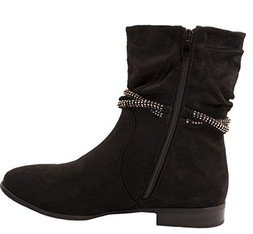 Elara Damen Stiefelette | Klassische Halb Stiefel | Zipper Wildlederoptik Schwarz