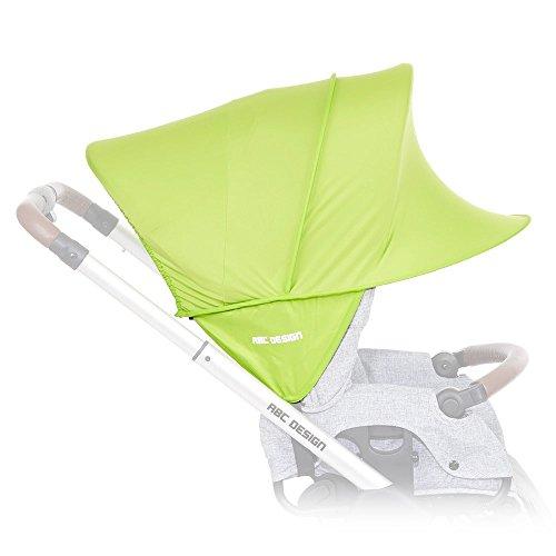 ABC Design Sonnensegel / Sonnendach, Sonnenverdeck, Sonnenschutz mit UV-Schutz 50+ für Kinderwagen und Buggys / Lime / praktische Sonnenschirm Alternative
