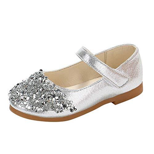 CixNy Tanzschuhe Kleinkind Einzelne Schuhe Sommer Kinderschuhe Süß Mädchen Kristall Klettband Schuhe Lederschuhe Lauflernschuhe Mädchen Prinzessin Schuhe Shoes Silber Gold Rosa Gr.21-30