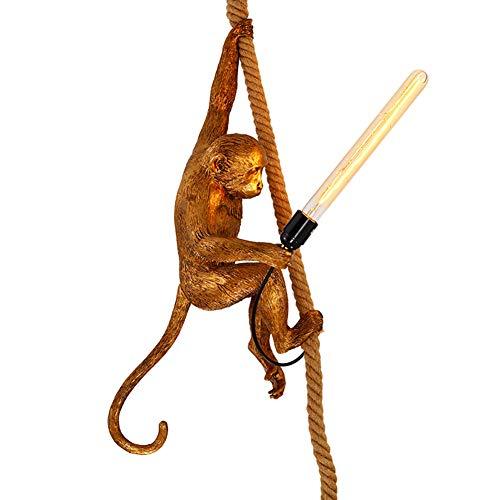 Lámpara colgante de estilo industrial retro, lámparas de resina de mono Cuerda de cáñamo, alambre colgante Lámpara de mesa de comedor, altura ajustable, dormitorio, sala de estar, (dorado) 35 * 72 cm