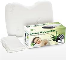 Almohada Aloe Vera con base terapéutica para un sueño relajado y cuidado de la piel | Espuma ortopédica | Almohada NuMoon con efecto de aire puro de bambú+Funda gratis | apoyo para la nuca