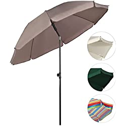 Sekey® Sombrilla Ø 200 cm parasol para terraza jardín playa balcón piscina patio , color Taupe / Arena , protector solar UV25+