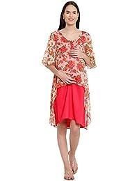 Mine4Nine Women's Summer Cool Maternity Midi Dress (Pink, MNDR1204)