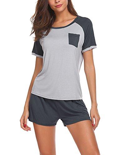 HOTOUCH Damen Schlafanzug Pyjama Shorty Mit Shorts & Shirt Nachtwäsche Kurzarm Sleepwear Grau XL