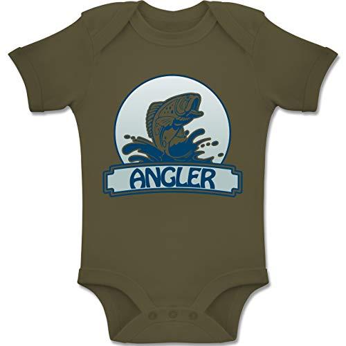 Sport Baby - Angler Button - 6/12 Monate - Olivgrün - BZ10 - Baby Body Kurzarm für Jungen und Mädchen
