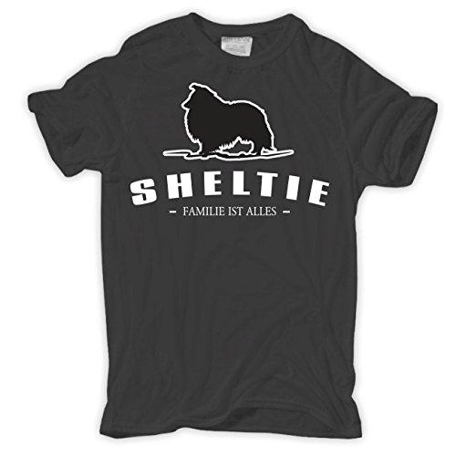 Männer und Herren T-Shirt Sheltie - Familie ist alles Größe S - 8XL Körperbetont grau