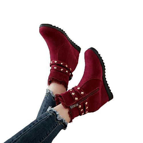 TianWlio Stiefel Frauen Herbst Winter Schuhe Stiefeletten Boots Klassischer Keilabsatz Mit Dickem Sohlenabsatz Und Reißverschluss